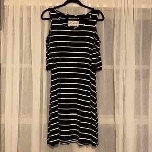 Cupio cold shoulder black & white striped dress